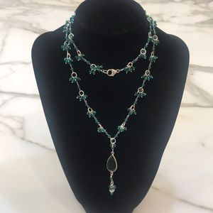 Jewelry - Beautiful Emerald Linked Sterling Necklace!!